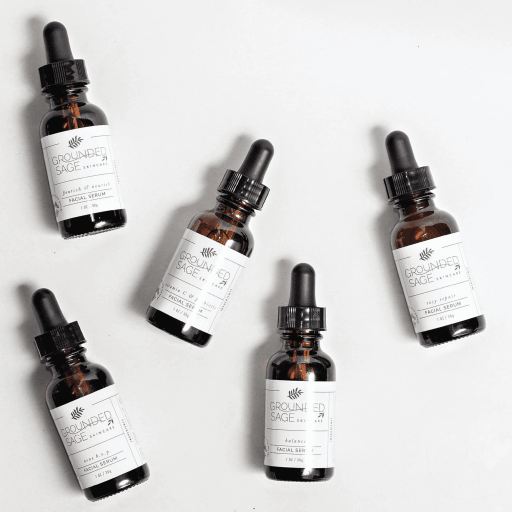 Grounded Sage Skincare line of facial serums for different skin needs and challenges- made with natural ingredients | organic skincare | eco beauty | holistic earthy skincare | vegan skin care