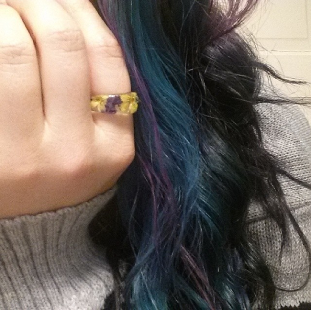 I rarely change my jewelry so when I pick out a new piece, it's either something that I just plan on wearing with special outfits/occasions, or, it's a piece I plan on wearing day in day out. This flower ring is definitely a day in day out piece. I'm absolutely in love that it contains real flowers. (March 27th)