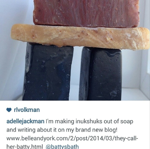 Go check out @adellejackman for the full pic of her soap sculpture ;) (using #battysbath soap! Booya!). And the lovely blog post she wrote about what changed her beauty junkie ways! Truly inspiring! (March 27th)