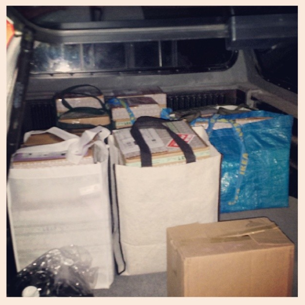 Phew. Just finished packing orders with momma batty. We had way too many orders to pack in her car (she takes them to the post office on Monday mornings), so we had to load them up in the truck instead! Crappy pic, but I just had to document this Lol. It's full right to the back! (March 30th)