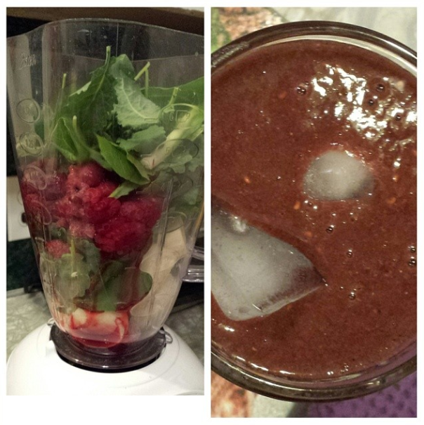 Today's smoothie. Banana, spinach, kale, raspberries, spouted chia & flaxseed powder, green superfood powder, brown rice protein powder and water. (April 1st)