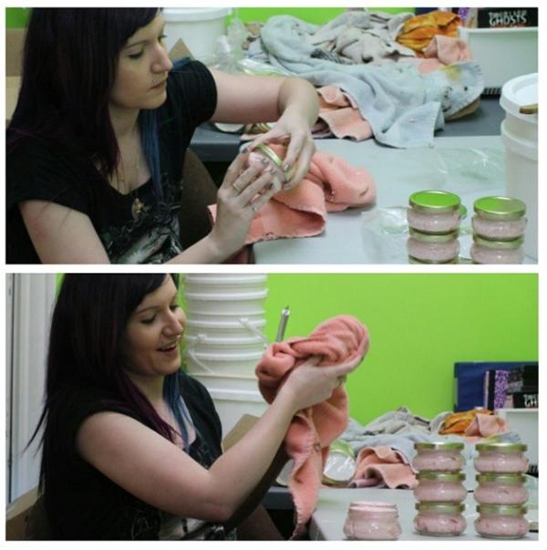 Previously in the studio. ….. packaging mild jojoba facial scrub :) (April 3rd)