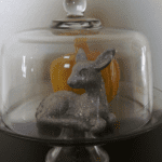 Close up from previous pic. In my dining room. My plaster pumpkin I made several years ago and my glittery deer.... All in a glass cake dome. (April 21st)