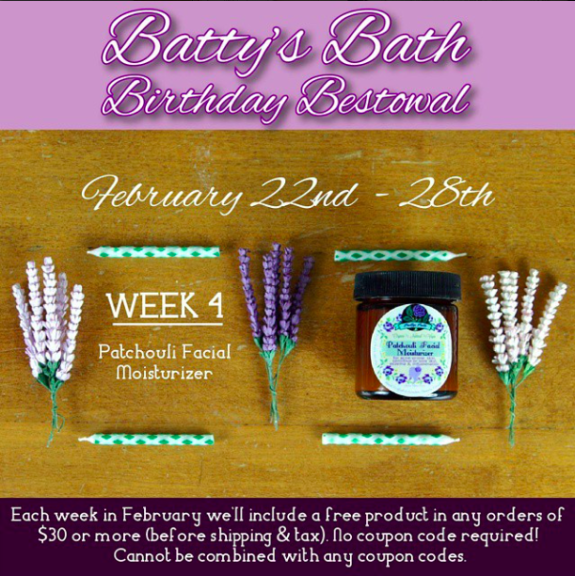 Can you believe it's already the last week of our month long birthday celebration? I don't know about you but this month has gone by so fast for me! I suspect it has something to do with all the exciting happenings at Batty's Bath this month! Not only have we been giving away freebies all month, but we've been releasing new products!  3 of which just got added to ShopBattysBath.com a few hours ago! (Feb 23rd)