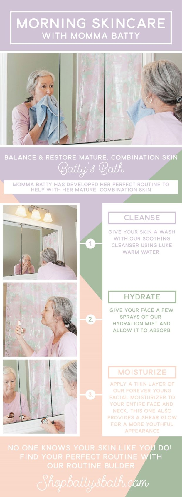 Morning skin care routine for Momma Batty who's mature, combination skin