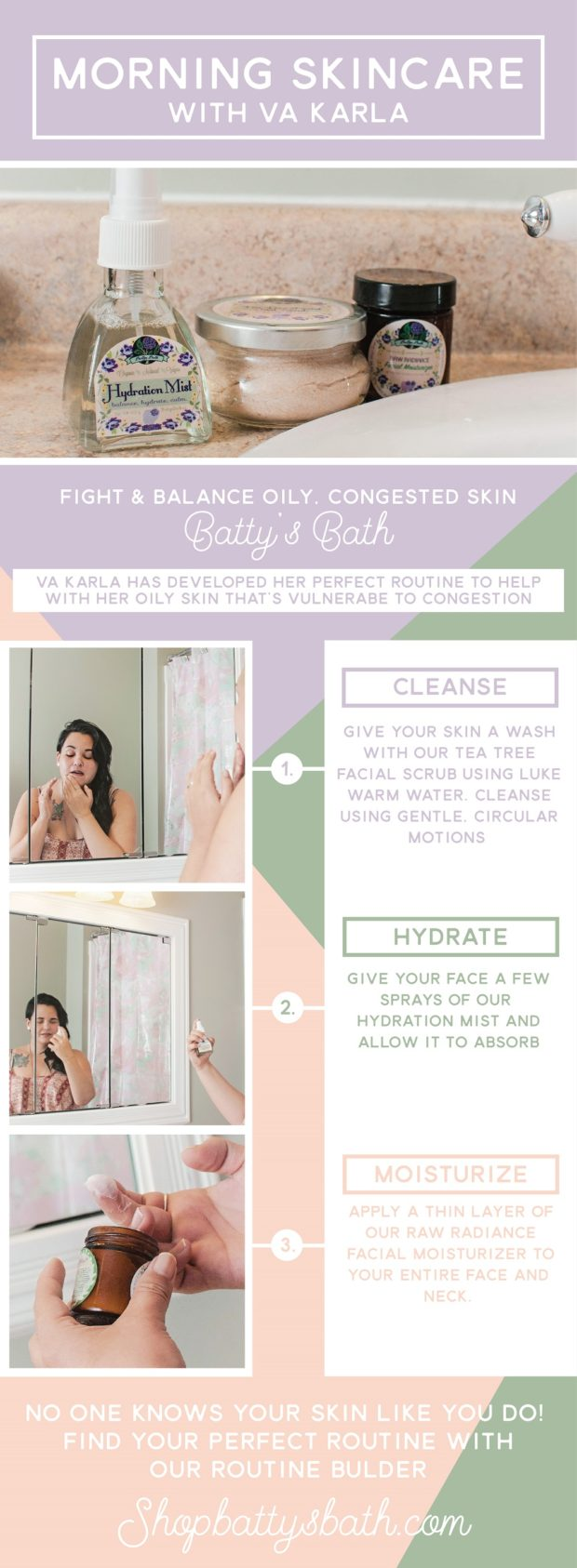 Morning skin care routine for VA Karla who's oily skin is vulnerable to congestion.