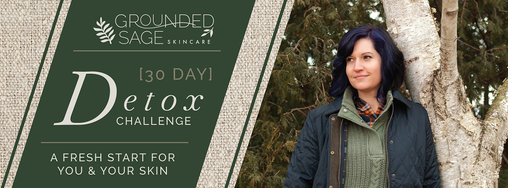 30-day detox challenge with grounded sage skincare banner