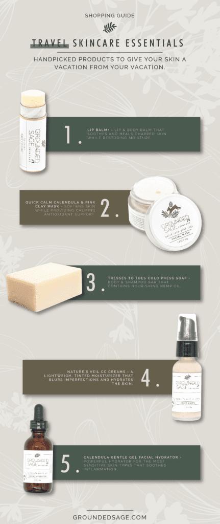 Skincare essentials for travel / green beauty / holistic skincare