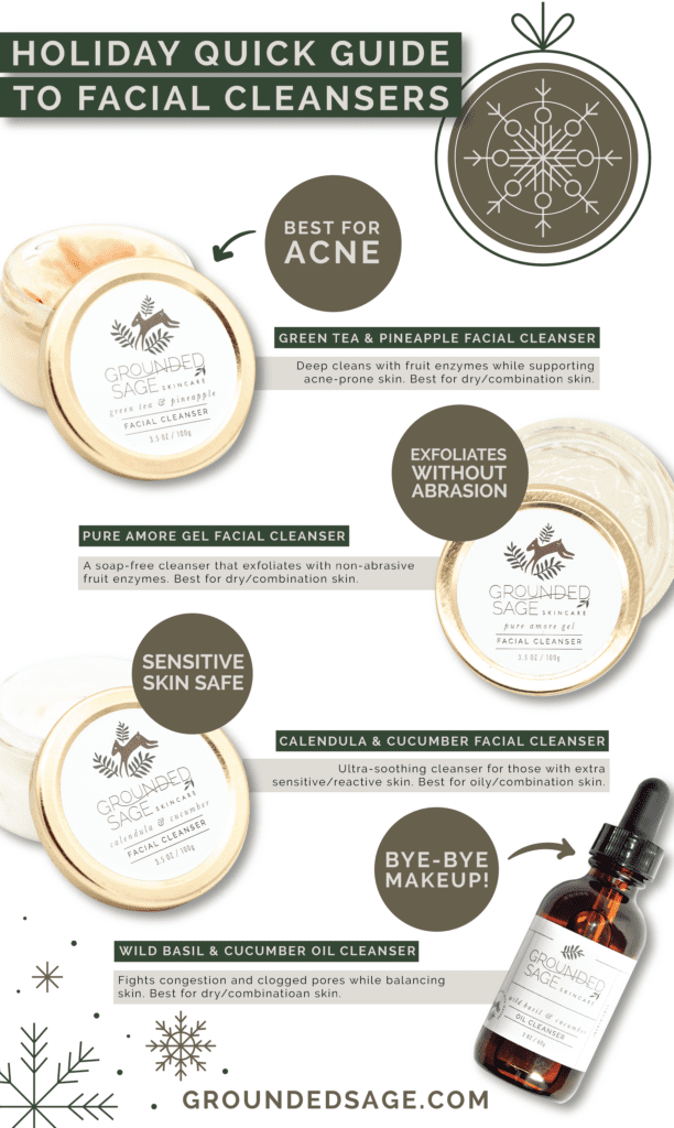 Holiday quick guide to cleansers/ green beauty / clean beauty / acne / sensitive skin/ facial cleansers