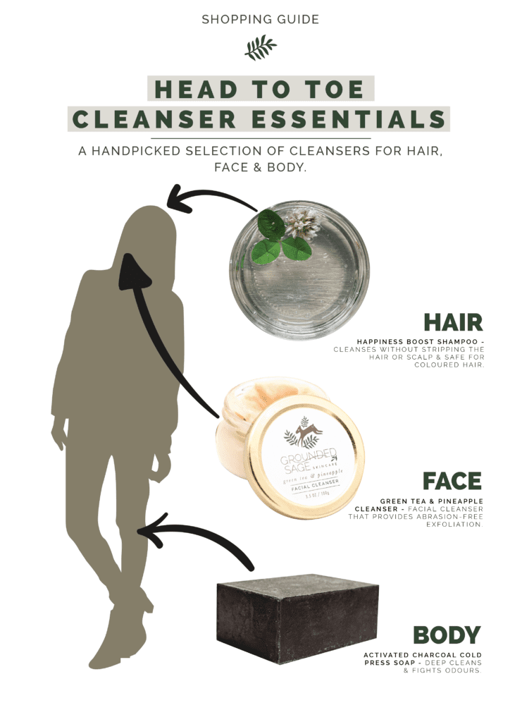 head to toe cleanser essentials / green beauty / shampoo / facial cleanser / body cleanser
