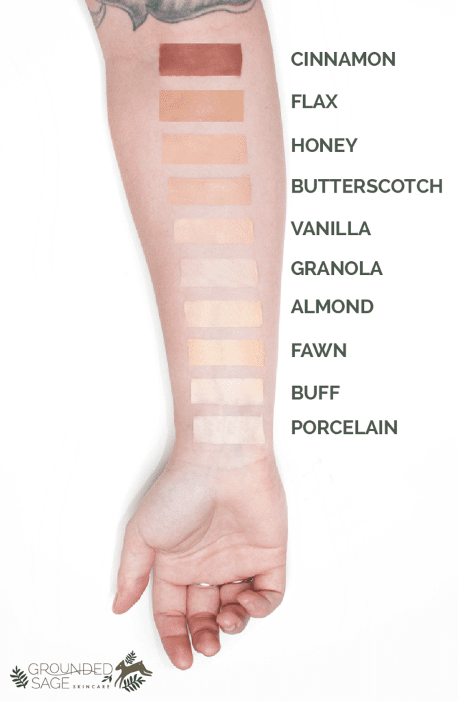 Natural Shade Swatches for Liquid Foundation - Vegan Cruelty Free Makeup
