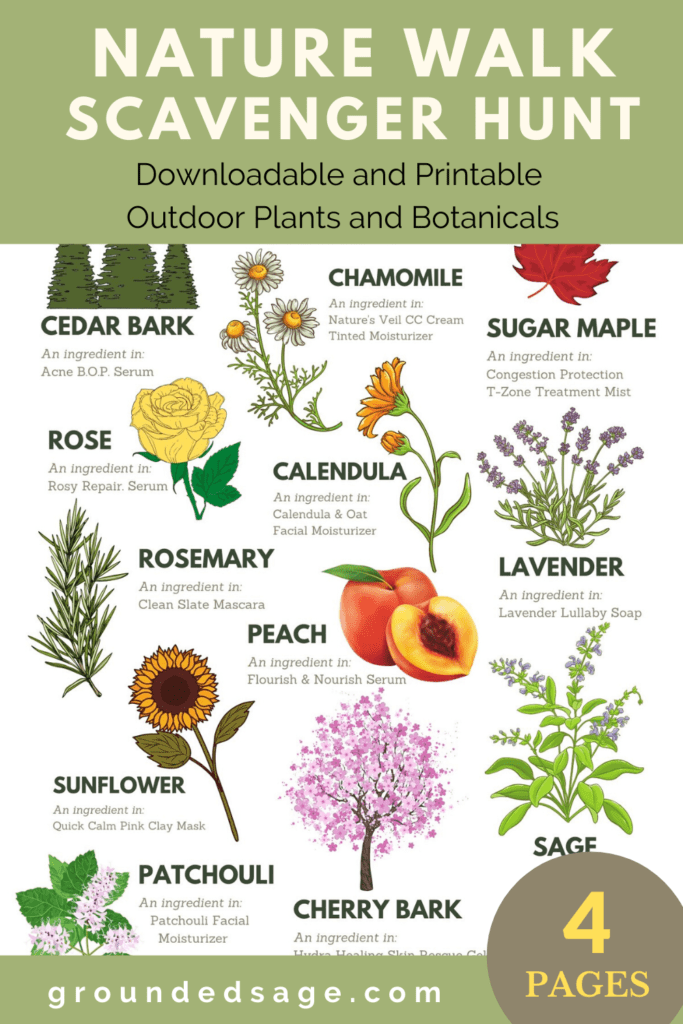 Outdoors Nature Walk Scavenger Hunt for Kids and anyone who loves plants, gardening, herbs, and flowers