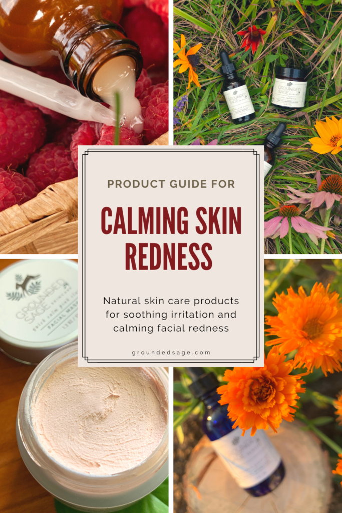 natural beauty product guide for calming skin irritation and redness with healthy skin care products. List of beauty products for redness and sensitive skin. Calming face mask product, serums to get rid of redness, and rosacea safe products to calm down sensitivity.