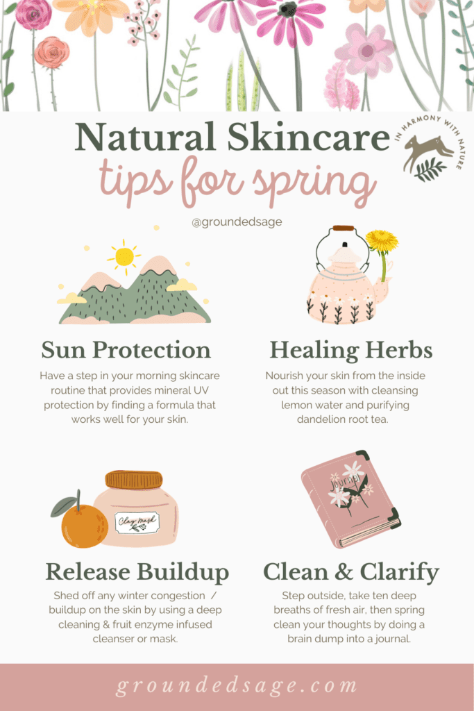 Spring Season - A Green Witches Guide to Using Healing Herbs in your holistic whole body beauty routine. Springtime Natural Skincare Magic for Nature Lovers.