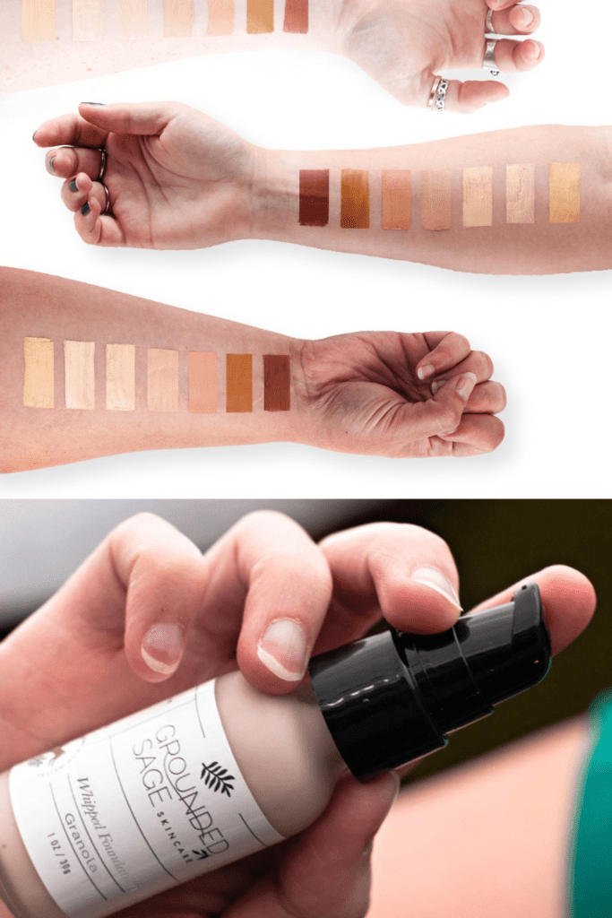 vegan liquid foundation - natural indie makeup in 10 shades with swatches - sustainable beauty products
